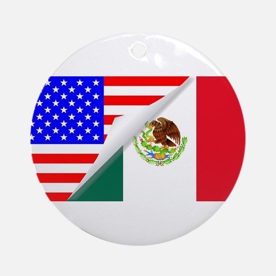 United States and Mexico Flags Comb Round Ornament