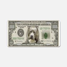 Pit Bull Money Aluminum License Plate