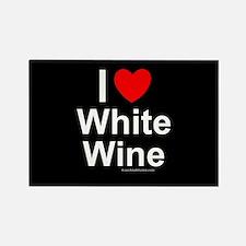 White Wine Rectangle Magnet