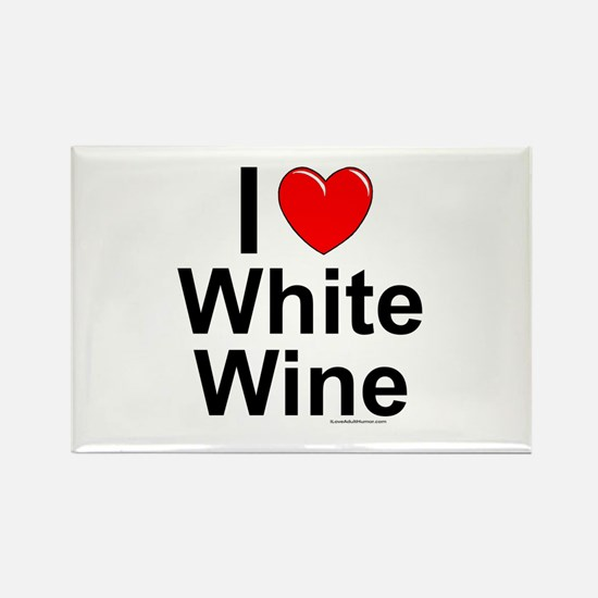 White Wine Rectangle Magnet