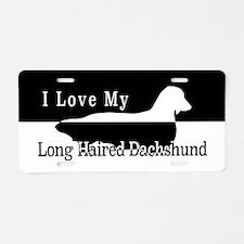 Cute Dachshund on human Aluminum License Plate