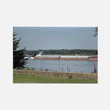 Barges on Mississippi Rectangle Magnet