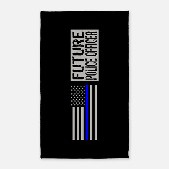 Police: Future Police Officer (Black Flag Area Rug