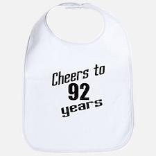 Cheers To 92 Years Birthday Bib