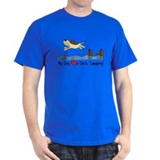 Cartoon Dock Jumping Dark Tee Shirt