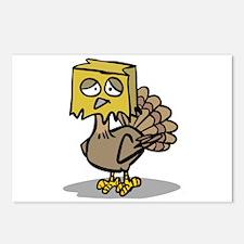 Hiding Paper Bag Head Turkey Postcards (Package of