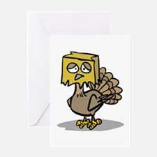 Hiding Paper Bag Head Turkey Greeting Card