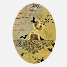 Gramophone with birds Oval Ornament