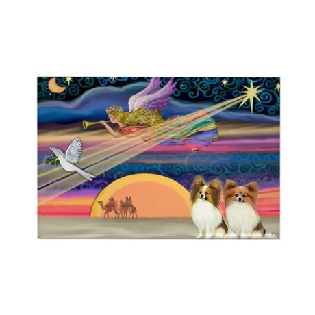 Xmas Star/2 Papillons Rectangle Magnet (10 pack)