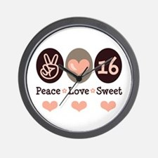 Peace Love Sweet Sixteen 16th Birthday Wall Clock