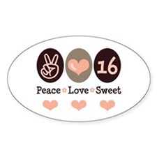 Peace Love Sweet Sixteen 16th Birthday Decal