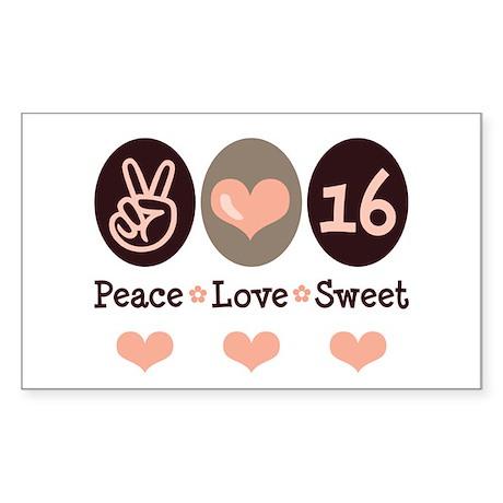 Peace Love Sweet Sixteen 16th Birthday Sticker (Re