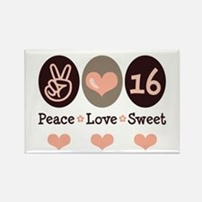 Peace Love Sweet Sixteen 16th Birthday Magnet