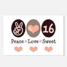 Peace Love Sweet Sixteen 16th Birthday 8 Postcards