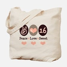Peace Love Sweet Sixteen 16th Birthday Tote Bag