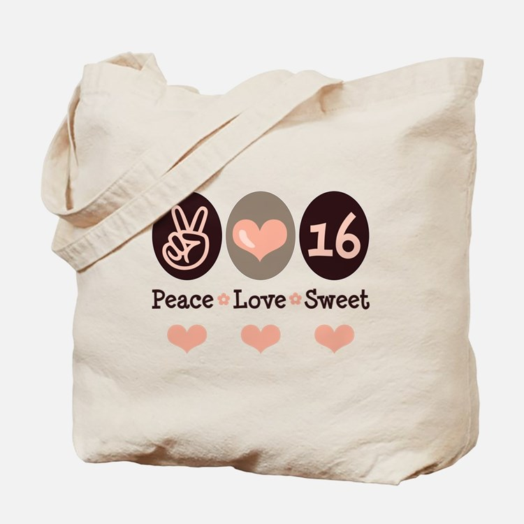 Peace Love Sweet Sixteen 16th Birthday Tote Bag