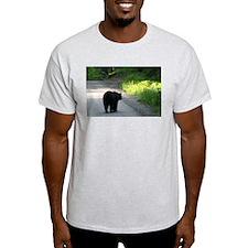 black bear walking on road T-Shirt