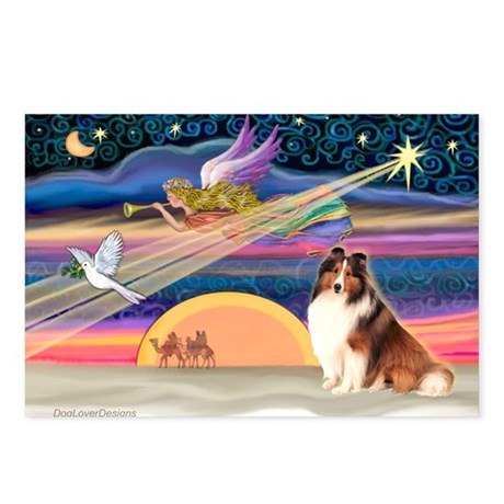 Xmas Star/Sheltie (#7) Postcards (Package of 8)