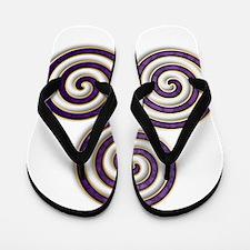Celtic Triple Spiral in Purple Amethyst Flip Flops