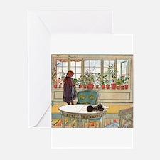 Flowers on the Windowsill by Carl La Greeting Card