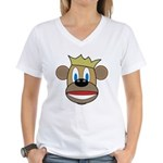 Monkey With Crown Women's V-Neck T-Shirt