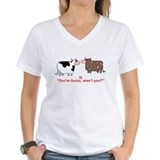 Brown swiss cow Womens V-Neck T-shirts