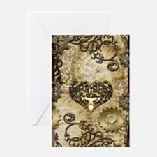 Steampunk, awesome heart with floral elements Gree