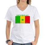 Senegal Senegalese Flag Women's V-Neck T-Shirt