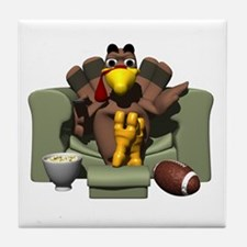 Couch Potato Football Turkey Tile Coaster