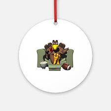 Couch Potato Football Turkey Ornament (Round)