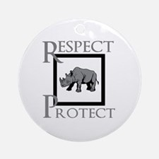 Protect Rhinos Round Ornament