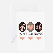 Peace Love Sweet Sixteen 16th Birthday Blank Card