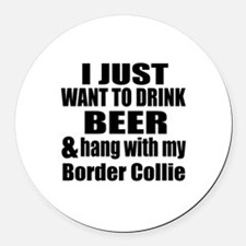 Hang With My Border Collie Round Car Magnet