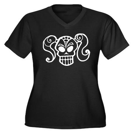 Ponytail Skull Goth Girlie Women's Plus Size V-Nec