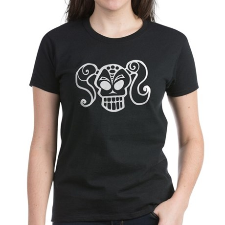 Ponytail Skull Goth Girlie Women's Dark T-Shirt