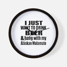 Hang With My Alaskan Malamute Wall Clock