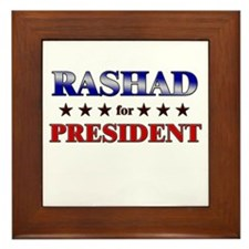 RASHAD for president Framed Tile