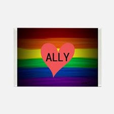 ALLY gay rainbow art Magnets