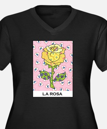 La Rosa Women's Plus Size V-Neck Dark T-Shirt