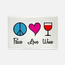 Peace Love Wine Rectangle Magnet
