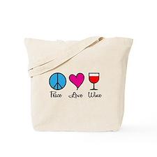 Peace Love Wine Tote Bag