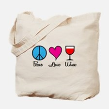 Peace Love Wine Tote Bag
