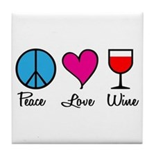 Peace Love Wine Tile Coaster