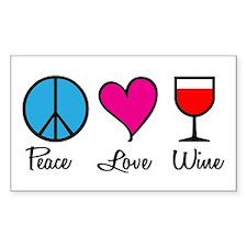 Peace Love Wine Rectangle Stickers