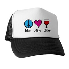 Peace Love Wine Trucker Hat