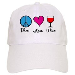 Peace Love Wine Baseball Cap