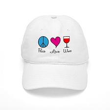 Peace Love Wine Baseball Cap