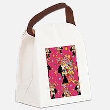 Hummingbird Kiss Floral Girl Canvas Lunch Bag