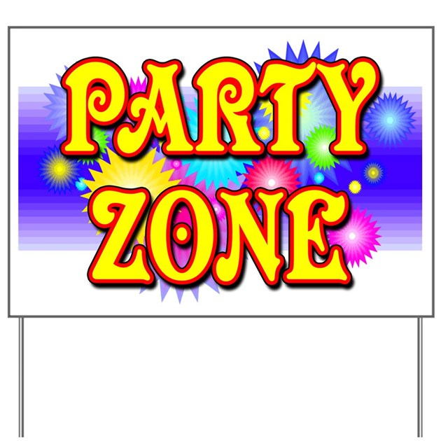 Party Zone Fireworks Yard Sign By Woodsyend