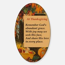 At Thanksgiving Poem Sticker (Oval)